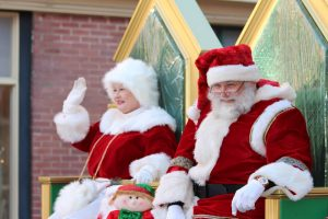 Santa & mrs. claus as the manassas christmas parade